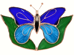 Butterfly Dark & Light Blue with Leaves Stained Glass Suncatcher