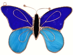 Butterfly Dark & Light Blue Stained Glass Suncatcher