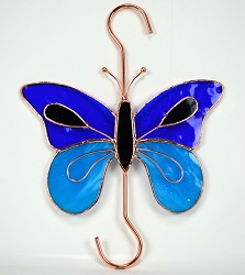 Butterfly Dark and Light Blue Stained Glass Garden Hook