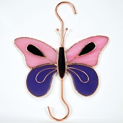 Butterfly Pink and Purple Stained Glass Garden Hook