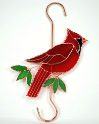 Cardinal Stained Glass Garden Hook