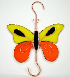 Butterfly Orange and Yellow Stained Glass Garden Hook