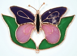 Butterfly Purple & Pink with Leaves Stained Glass Suncatcher