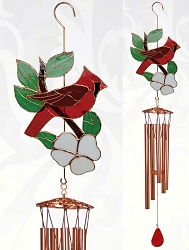 Cardinal Stained Glass Windchime Large 40