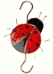 Ladybug Stained Glass Garden Hook