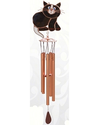 Black & White Cat Stained Glass Windchime Small 20