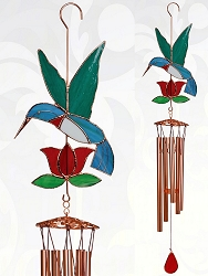 Hummingbird with Red Flower Stained Glass Windchime Large 40