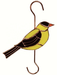 Goldfinch Stained Glass Garden Hook