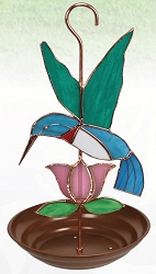 Hummingbird with Pink Flower Stained Glass Bird Feeder