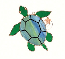 Sea Turtle Stained Glass Suncatcher