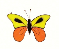 Butterfly Yellow and Orange Stained Glass Suncatcher