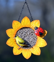 Sunflower with Ladybug Mesh Bird Feeder