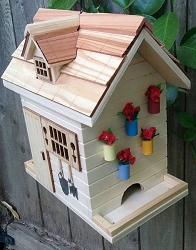 Nestling Series Potting Shed Bird Feeder Natural