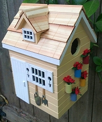 Nestling Series Potting Shed Bird House Yellow