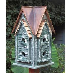 Copper Mansion Bird House Brown Patina Roof