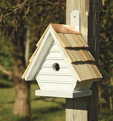 Chick Shake Shingle Birdhouse Whitewashed
