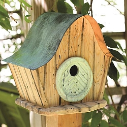 Katy's Kottage Bird House Natural w/Green Door
