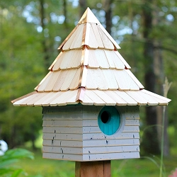 Imperial Inn Birdhouse Grey w/Turquoise Door