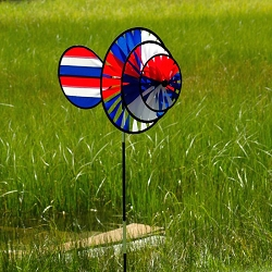 Patriotic Triple Wheel Spinner with  Wind Sail