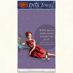 Wine Makes You Lean Retro Dish Towel