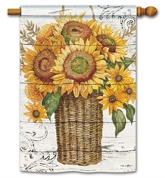 Farmhouse Sunflower House Flag