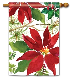 Pretty Poinsettia House Flag