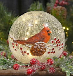 Crackle Glass LED Globe 6 Inch Cardinal