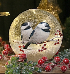 Crackle Glass LED Globe 7 Inch Chickadee