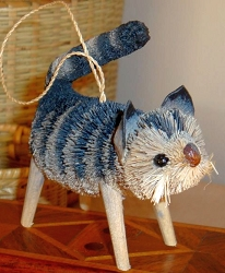 Brushkins Cat Standing Striped Ornament