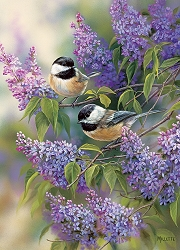 Chickadees and Lilacs 1000 Piece Jigsaw Puzzle