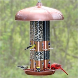 Top Flight Copper Finish Triple Tube Bird Feeder