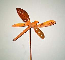 Elegant Garden Design Silhouette Dragonfly Pick Set of 3