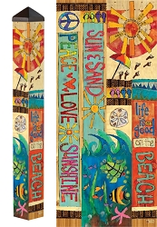 3 ft. Art Pole 4x4 Peace, Love & Sunshine