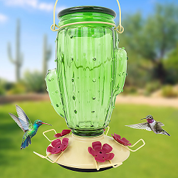 Cactus Top-Fill Glass Hummingbird Feeder