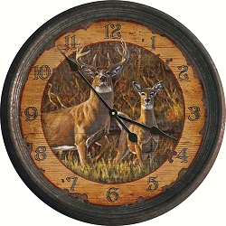 Vintage Tin Wall Clock Buck and Doe