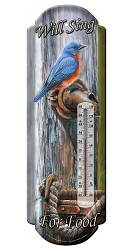 Tin Thermometer Bluebird