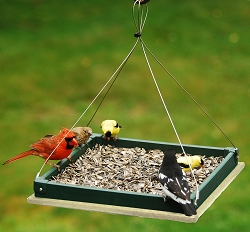 Recycled Plastic Small Hanging Platform Feeder Hunter Driftwood