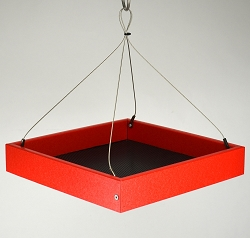 Recycled Plastic Small Hanging Platform Feeder Red