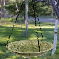 Alcyon Circles Hanging Bird Bath Meadow Green