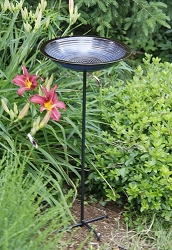 Alcyon Circles Staked Bird Bath Cobalt Blue