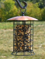 Songbird Copper Roof Suet/Seed Log Feeder