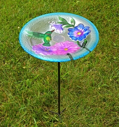 Hummingbird Embossed Glass Birdbath Staked