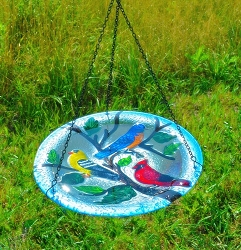 Songbird Trio Embossed Hanging Glass Birdbath