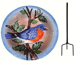Bluebird Embossed Glass Birdbath Staked