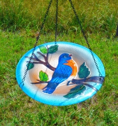 Bluebird Embossed Hanging Glass Birdbath