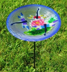 Dragonfly Trio Embossed Glass Birdbath Staked