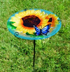 Blooming Sunflower Embossed Glass Birdbath Staked