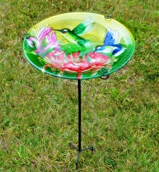 Fluttering Hummingbirds Embossed Glass Birdbath Staked