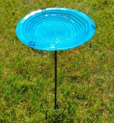 Blue Swirls Embossed Glass Birdbath Staked