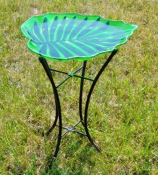 Leaf Shaped Embossed Glass Birdbath with Stand